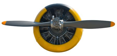 Close view of a propeler and 9-cylinder radial engine of a war plane on white background
