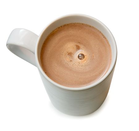 cup: Hot chocolate in a white cup
