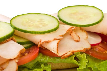 hoagie: Roasted turkey sandwich with lettuce, cucumbers and tomatoes Stock Photo