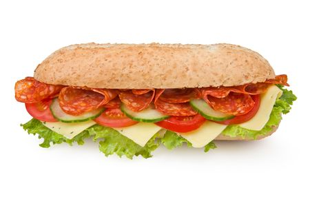 Calabrese salami sandwich with lettuce, tomatoes and cucumbers on white photo