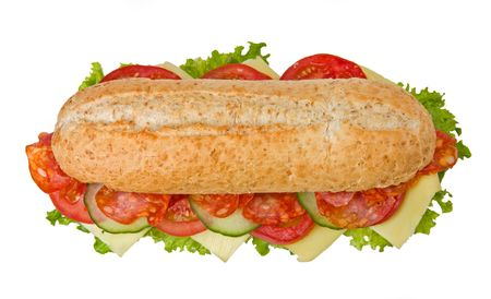 hoagie: Fresh spicy salami sandwich with lettuce, tomatoes and cucumbers