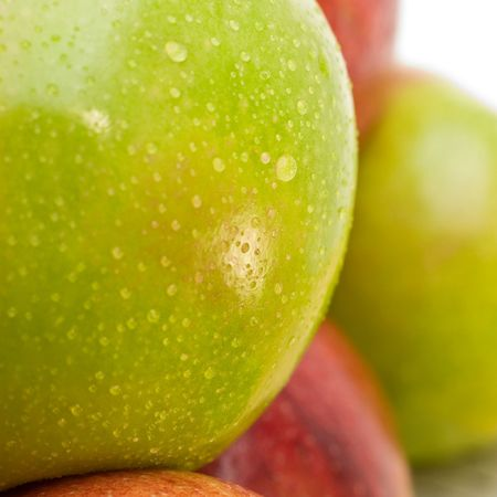 stacked up: Close-Up of a fresh green apple Stock Photo