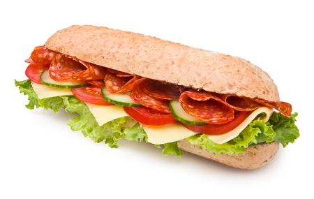 Hot salami sandwich with lettuce, tomatoes and cucumbers on white Stock Photo