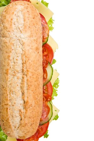 Multi grain submarine sandwich with salami, lettuce, tomatoes and cucumbers, top view, isolated on white background photo
