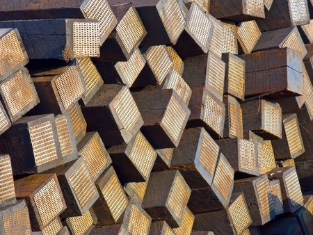 cross ties: Pattern made of stacked weathered wooden railroad cross ties Stock Photo