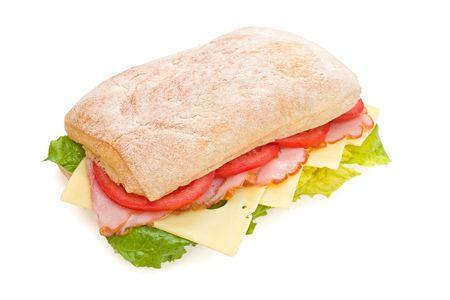 ham and cheese: Fresh italian ciabatta sandwich with lettuce, ham, cheese and tomatoes
