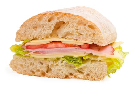 ham and cheese: Ready to eat ciabatta sandwich with lettuce, ham, cheese and tomatoes on white background Stock Photo