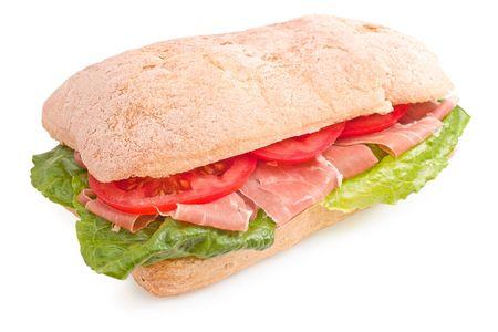 prosciutto: Delicious italian sandwich with lettuce, prosciutto di Parma and tomatoes on white background