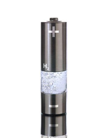 hydrog�ne: Concept pour un m�nage d'hydrog�ne la pile � combustible. Batterie AA avec compartiment rempli de bulles d'eau  Banque d'images