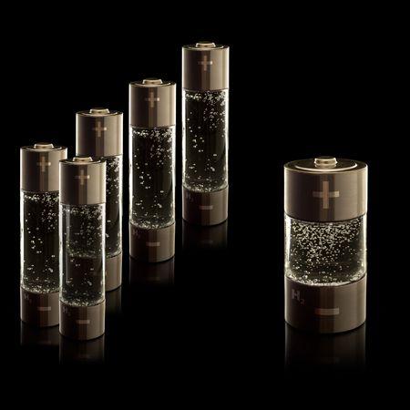 Abteile: Konzept f�r eine Wasserstoff-Brennstoffzellen Haushalt. AA (R6)-Batterien und-C (R14)-Akkus mit Abteilungen mit sprudelnden Wasser.