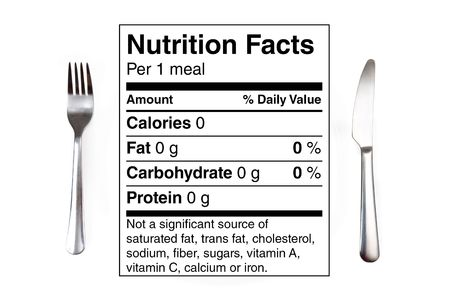 Dinner setting with 0 calories nutrition label instead of a plate. Concept for dieting, nutrition, anorexia. photo