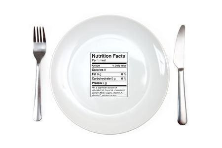 nutrici�n: Cena y con 0 calor�as etiqueta de nutrici�n en lugar de una comida. El concepto de dieta, la nutrici�n, anorexia  Foto de archivo