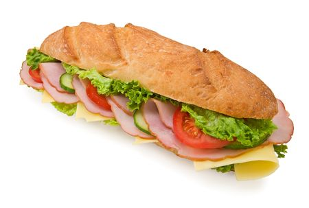 Delicious extra large 12inch ham & swiss submarine sandwich photo