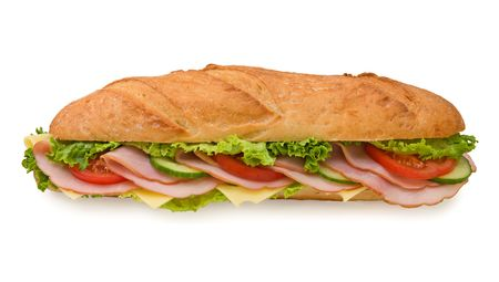 ham sandwich: Delicious foot-long submarine sandwich with ham, swiss cheese, lettuce, tomatoes and cucumbers isolated on white background, front view