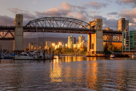 viewed: Vancouver - Burrard Bridge at sunset viewed from Granville Island