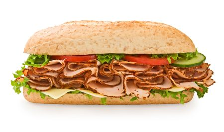 hoagie: Loaded multi-grain turkey submarine sandwich with lettuce, tomatoes and cheese Stock Photo