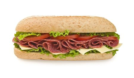 hoagie: Fresh salami & cheese sandwich, frontal view, isolated on white Stock Photo