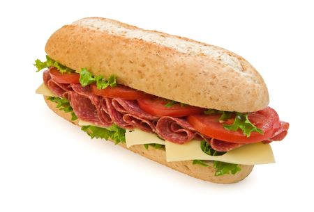 hoagie: Delicious salami sub with lettuce, cheese and tomatoes, 34 view
