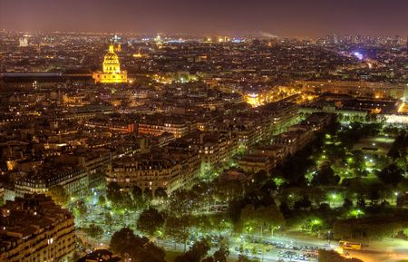 Night skyline of Paris with brightly lit dome of the Church at the Invalides, and Pantheon visible in the background Reklamní fotografie