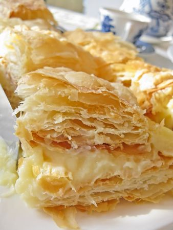Close view of puff pastry with cream