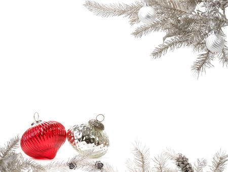 silver frame: Silver Christmas arrangement with silver and red baulbes