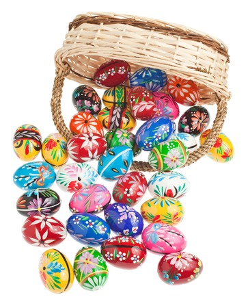 Hand made easter eggs spilling out of a basket photo