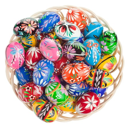 Colorful Easter eggs arrangement on white photo