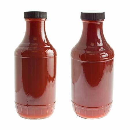 tomato catsup: Generic bottle of ketchup  barbecue sauce - two angles