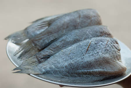 In thailand called Pla-sa-lid,is food ingredient for making delicious crisp-fried fish, or called Dried salted damsel fish on plate