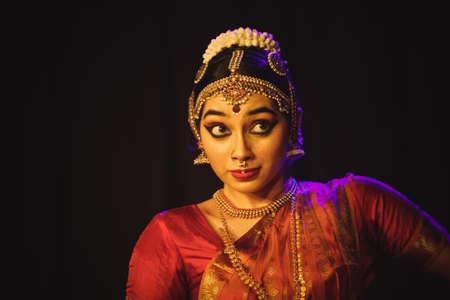 A young bharatnatyam dancer looks at Balrama at the Manamohana event on December 6,2018 at Sevasadan hall in Bengaluru,India