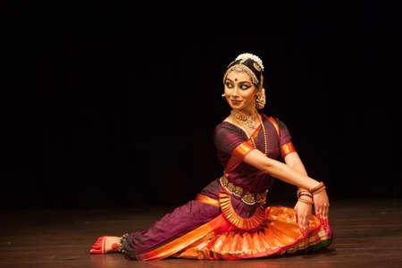 A young bharatnatyam dancer looks at god at the Manamohana event on December 6,2018 at Sevasadan hall in Bengaluru,India Editorial