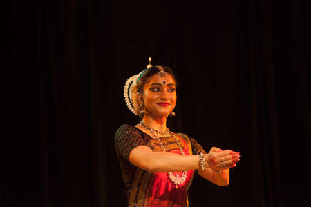 A highly talented Odissi dancer performs during the Odissi evening recital event on October 19,2018 at Bharatiya Vidhya Bhavan in Bengaluru,India