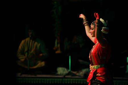 A talented dancer emotes at bharatnatyam recital event held on December 26,2016 at Sevasadan hall in Bengaluru.