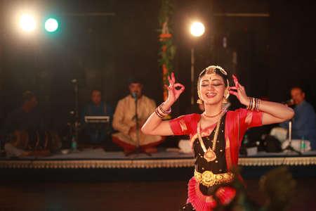 A talented dancer emotes at bharatnatyam recital event held on December 26,2016 at Sevasadan hall in Bengaluru