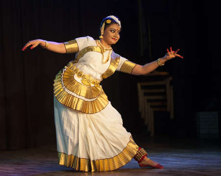 A talented dancer emotes at Mohiniyattam recital event held on December 26,2016 at Sevasadan hall in Bengaluru.
