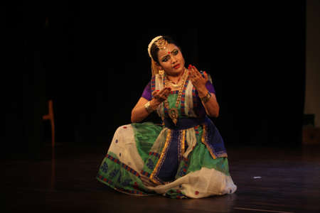 A sattriya dancer performs at event 'shisheerchanda festival' which was staged in Chowdiah Hall,Bengaluru on January 11,2020
