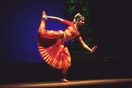 A bharatnatyam dancer performs at event 'Drishti festival' which was staged in Chowdiah Hall,Bengaluru on January 11,2020