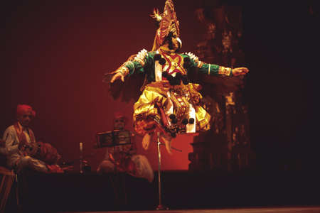 A yakshagana dancer performs at event 'Drishti festival' which was staged in Chowdiah Hall,Bengaluru on January 11,2020