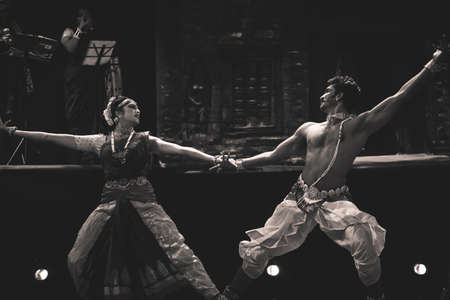 Classical Indian dancers dane on stage on July 10,2019 in Bengaluru,India