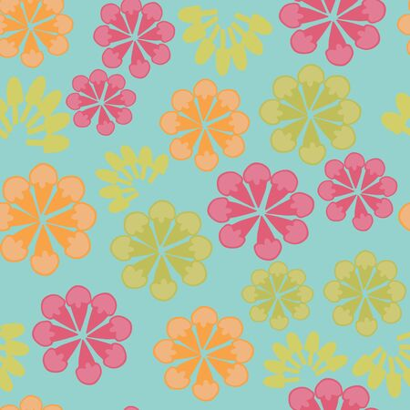 Vector blue ice cream floral design seamless pattern background. Suitable for fabrics, wallpapers, gift wrappers, scrapbook projects.