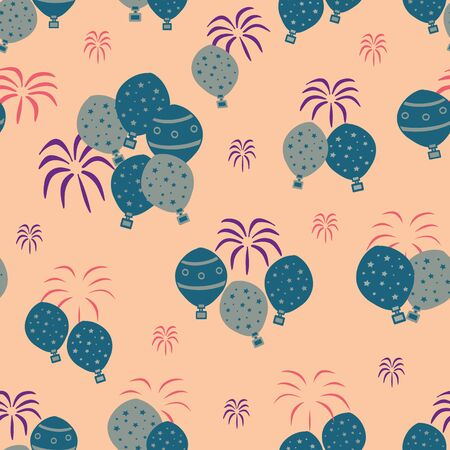 Vector orange sky carnival scenes seamless pattern background. Suitable for fabrics, wallpapers, gift wrappers, scrapbook projects