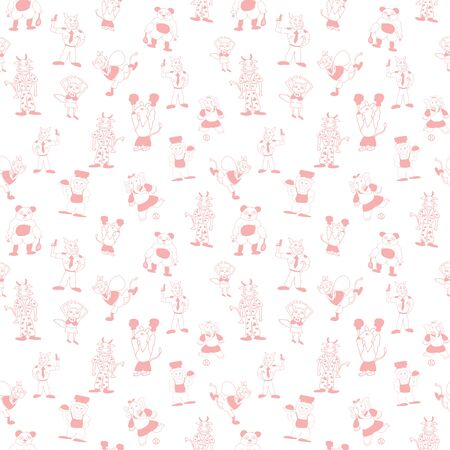 Vector white cute anthromorphic cartoon characters in beautiful peach seamless pattern background Illustration