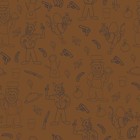 Vector wood brown fun anthromorphic cartoon characters seamless pattern background
