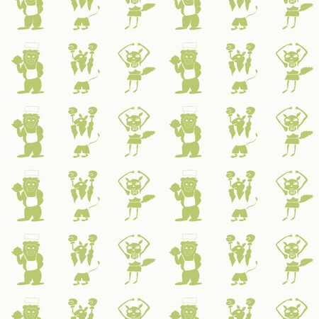Vector white vertical silhouette of anthropomorphic cartoon characters seamless pattern background Standard-Bild - 133409845