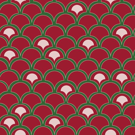 Vector red fun fish scale texture seamless pattern background