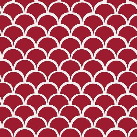 Vector red and white fishscale seamless pattern background . Perfect for fabrics, wallpapers, gift wrap, home decor, scrapbooking projects and more