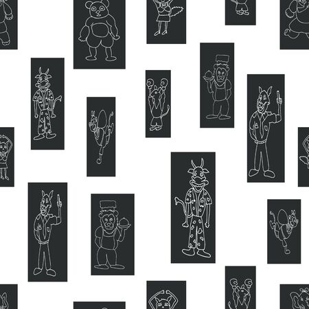 Vector black and white anthropomorphic characters in fun rectangle shapes seamless pattern background