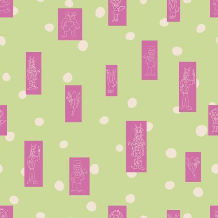 Vector pastel green polka dots anthropomorphic characters in fun rectanglar shapes seamless pattern background Archivio Fotografico - 138169376