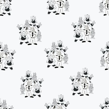 Vector black and white playful bunch of anthropomorphic characters seamless pattern background Illustration