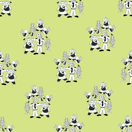 Vector chartreuse green playful bunch of black and white anthropomorphic characters seamless pattern background Illustration